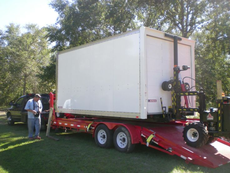 One of our portable storage units and trailers. Very easy and safe to move.