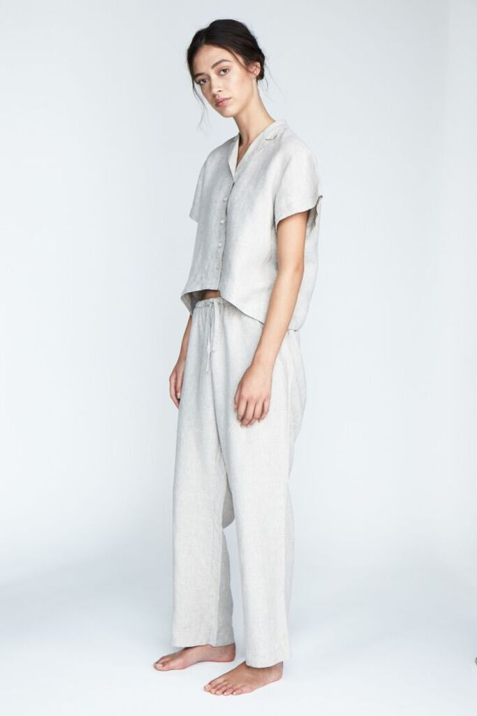 The 'Evie' Shirt and Long Pant set in Silver - Andrea & Joen French Linen Loungewear Collection shot by Sylve Colless