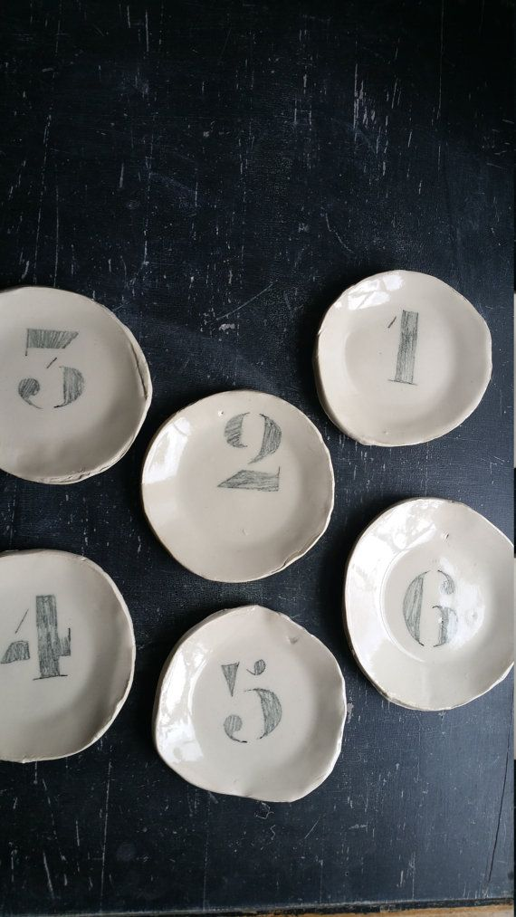 little plate with drawn number