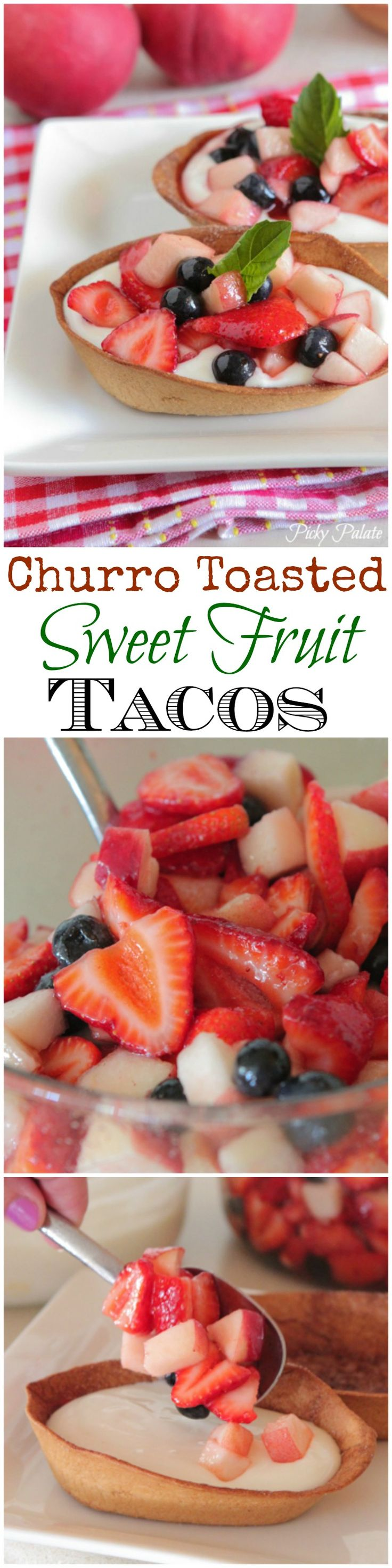 Churro Toasted Sweet Fruit Tacos!  Fun and light dessert idea :) #dessert #fruit