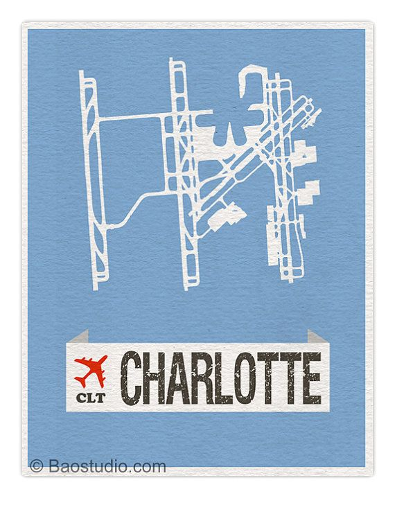 Fly me to Charlotte North Carolina CLT - Douglas International Airport Code Runway Map Aviation Art Print Poster Airplane Nursery Decor