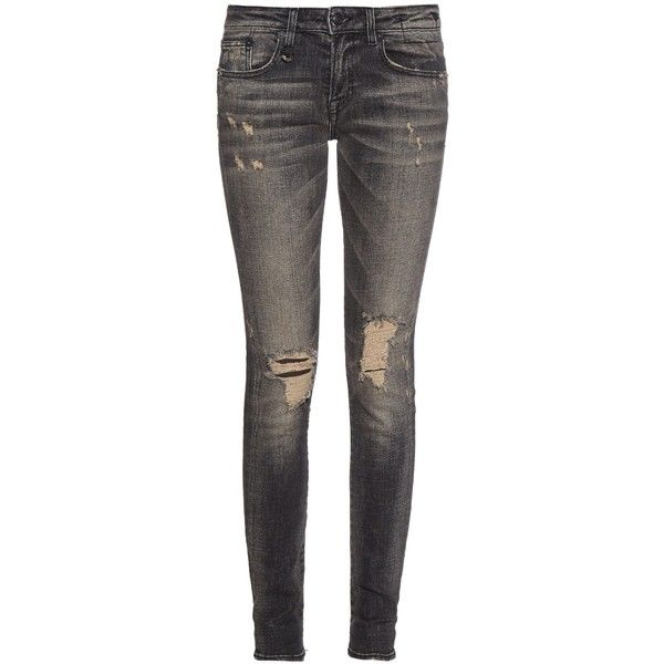 R13 Alison mid-rise skinny jeans ($395) ❤ liked on Polyvore featuring jeans, pants, bottoms, jeans/pants, black, distressed jeans, super skinny jeans, black ripped skinny jeans, destroyed skinny jeans and mid rise skinny jeans