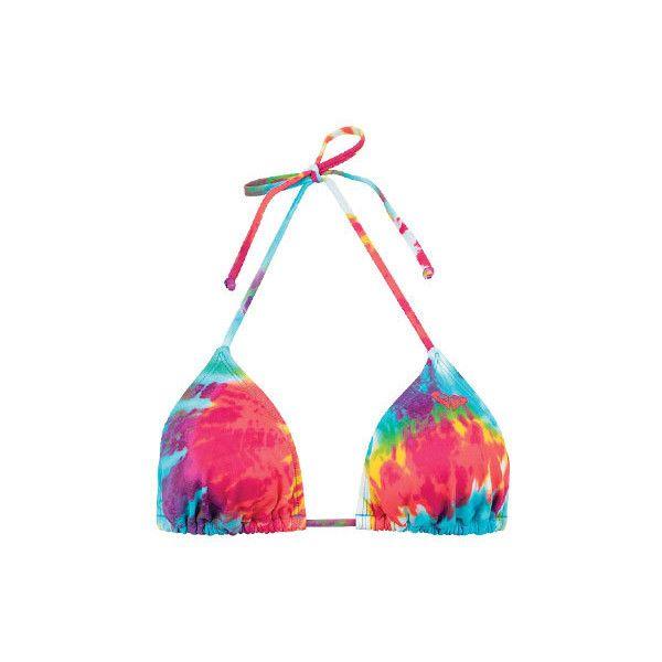 Roxy Woodstock String Top ($9.99) ❤ liked on Polyvore featuring swimwear, bikinis, bikini tops, bathing suits, swimsuits, swim, roxy swimsuits, swim bikini, bikini swimsuit and neck-tie