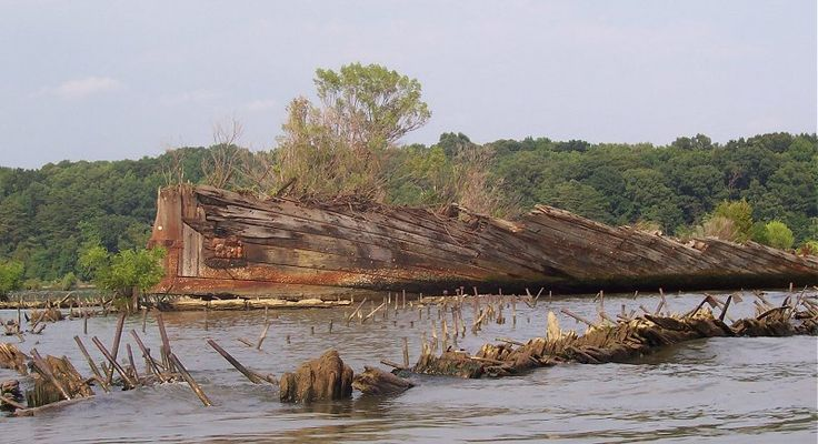 Kayak to see the Ghost Fleet of the Potomac - largest ship graveyard in the world - Potomac River, Charles Co., MD