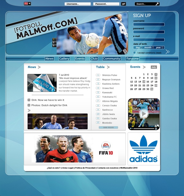 Soccer Web Template (2) by Laura Martín, via Behance