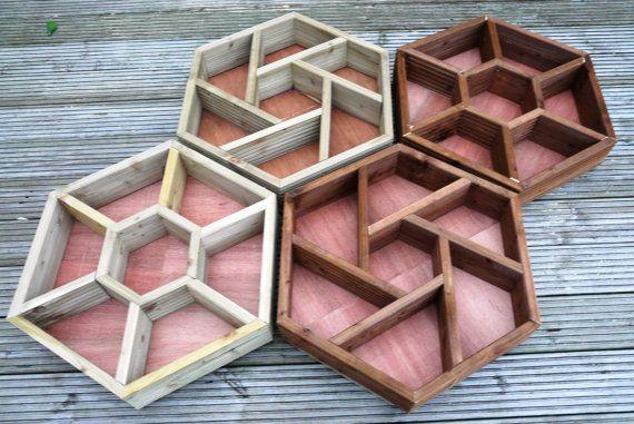 LARGE (70cm x 60cm) hand made wooden hexagonal HERB WHEEL patio planter