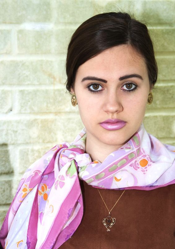 Thelma pink - hand painted silk scarf - product images  of