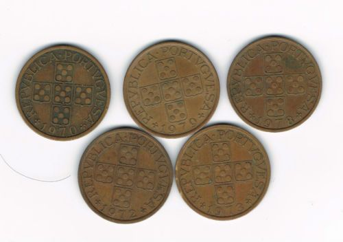 PORTUGAL GREAT LOT 5 COINS 50 CENTAVOS 1970/72/73/78/79 BRONZE - KM#596