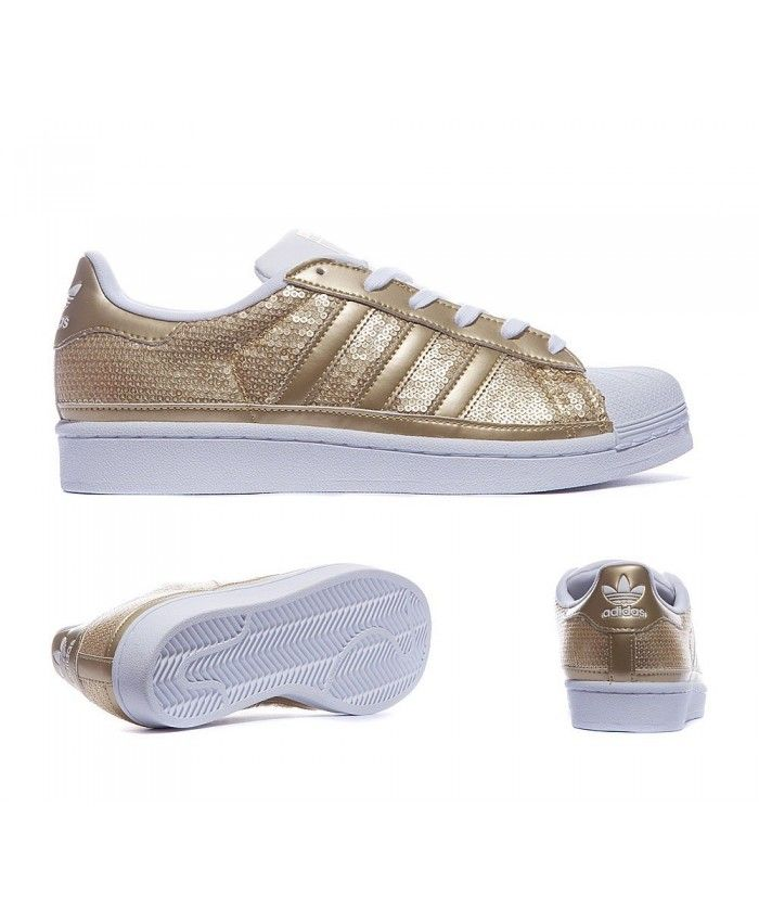 Womens Adidas Originals Superstar SequTrainers Metallic Gold and Running  White Trainer Design standards are very high