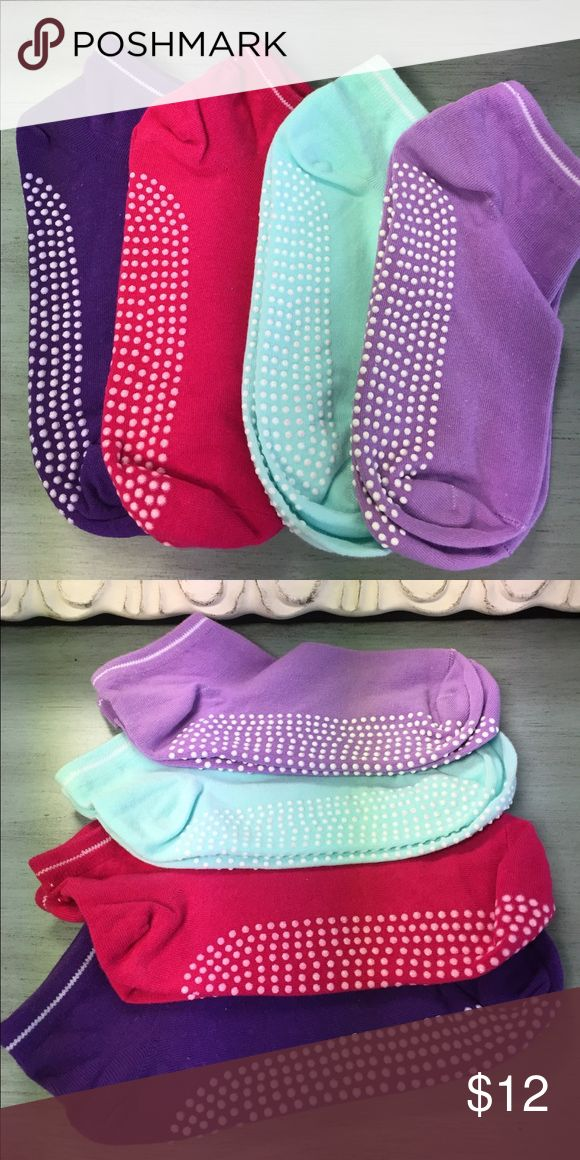 Set of 4 Non-Slip Yoga Pilates Socks (YG011) Set of 4 non-slip socks. Closed toe. Designed for yoga, barre & pilates. Women's size 5-8.5. Colors purple, red, light blue & lavender. 82% cotton 18% elastic fiber. NWOT Accessories Hosiery & Socks
