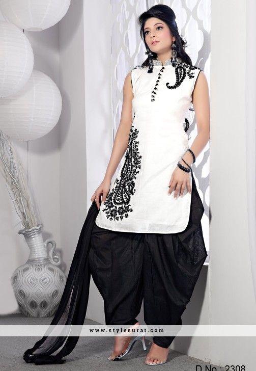 Chanderi Silk White & Black Readymade Patiyala Salwar Suit-2308