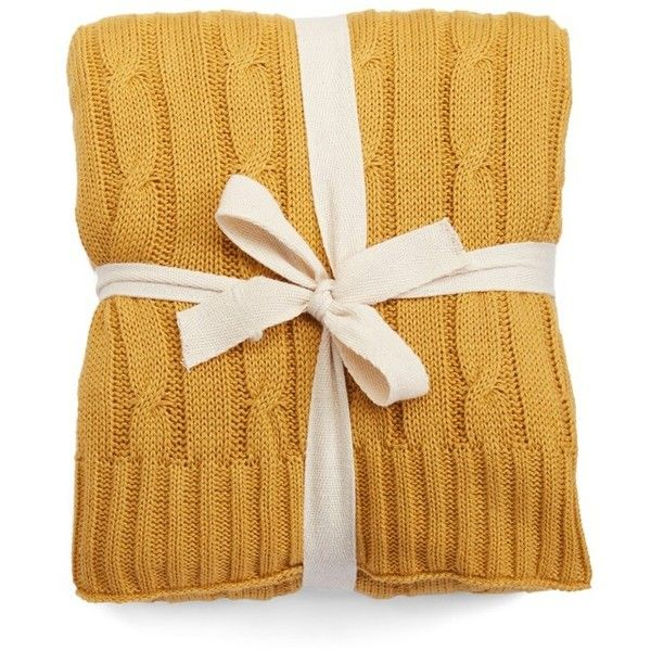 Rizzy Home Cable Knit Cotton Throw ($59) ❤ liked on Polyvore featuring home, bed & bath, bedding, blankets, ochre, cable blanket, textured bedding, cotton cable knit throw blanket, rizzy home bedding and rizzy home