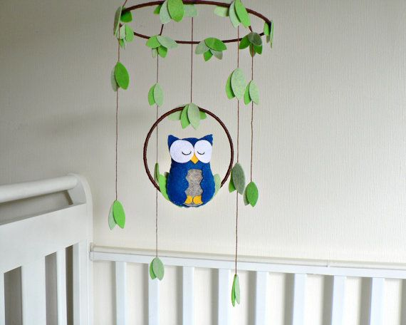 Owl mobile - woodland - Nursery baby mobile - You pick your colors - Felt blue and gray owl - Nursery decor on Etsy, $60.00