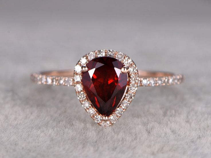 12ct pear cut red garnet engagement ring rose golddiamond wedding