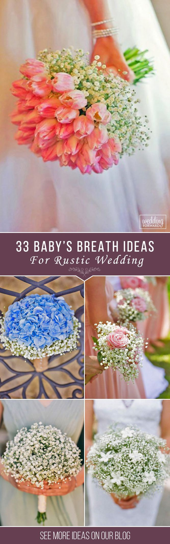 33 Baby's Breath Wedding Ideas For Rustic Weddings ❤ These small white and blush buds will add a fragrant smell and an airy aesthetic to your celebration. See our gallery of baby's breath wedding ideas! See more: http://www.weddingforward.com/babys-breath-wedding-ideas/ ‎ #wedding #bouquets