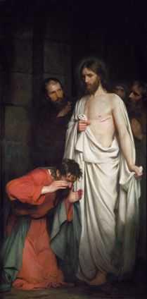 "(8) ""The Doubting Thomas"" by Carl Bloch (1881). ""Then he said to Thomas, 'Put your finger here and see my hands, and bring your hand and put it into my side, and do not be unbelieving, but believe.' Thomas answered and said to him, 'My Lord and my God!' Jesus said to him, 'Have you come to believe because you have seen me? Blessed are those who have not seen and have believed.' "" John 20:27-29"