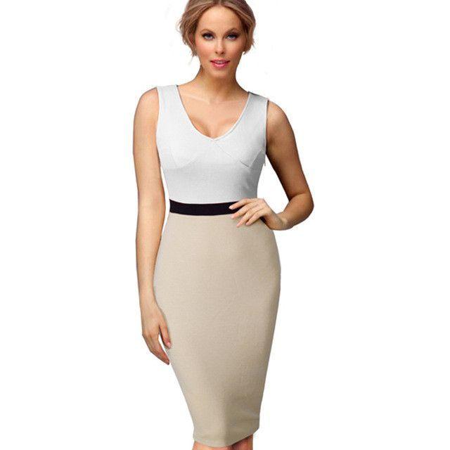 Nice-forever Casual Female Work Sexy women Summer Dress Midi V-neck Gorgeous knee length Bodycon Smart Slim Pencil dresses 695