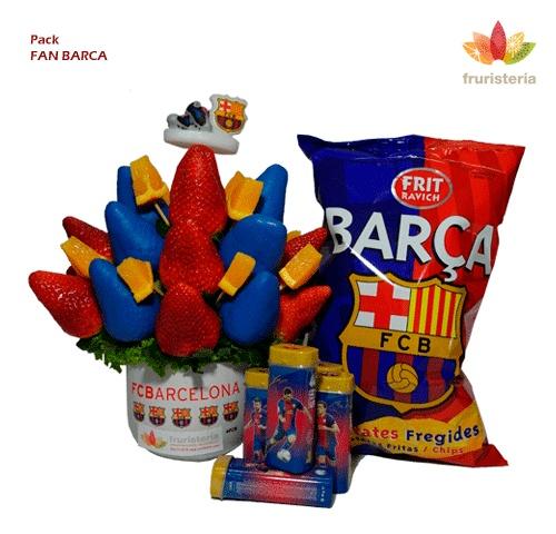 """Pack """"Fan Barca""""   Ramo de frutas Barça Fruit más un paquete de patatas fritas edición especial FC Barcelona (125grs) + Caja Barça de Chicles sin Azúcar (sabor a menta) #DiadelPadre"""