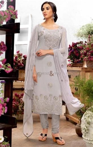 Likeable Grey Embroidered Georgette Pakistani Salwar Kameez  #Pakistani Style #SalwarStyle #PakistaniSuits #DesignerSuits #PakistaniDesigns #SalwarKameez #PakistaniModels #PakistaniFashions #Gorgeous #Embroidered