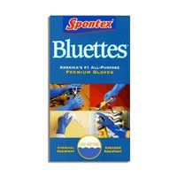 Spontex bluettes medium size gloves - 1 pair by Spontex. $7.17. Heavy duty - all purpose gloves.. Textured palm for non - slip - grip.. Puncture resistant.Natural latex free to prevent allergies.. Xtra resistance to harsh chemicals (Turpentine Ammonia etc).. 100% cotton lining for maximum comfort.. This product is not eligible for Priority Shipping.