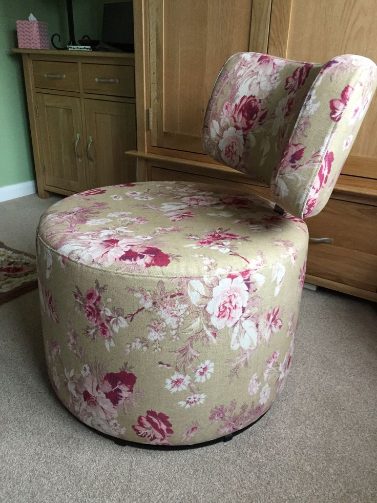 Lovely Floral Fabric, From Linwood, On This Simple Swivel Seat