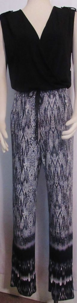 NEW Womens Ladies NY COLLECTION Black & Reptile Print Silky Stretchy Jumpsuit L #NYCollection #Jumpsuit