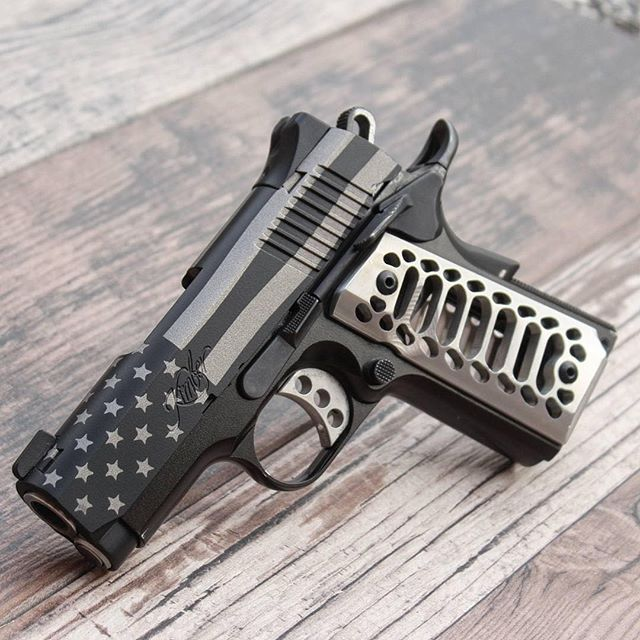 Repost from @kingsman_arms using @RepostRegramApp - To go with along voting day an American flag cerakoted on this Kimber Ultra slide. For pricing email kingsman.arms@gmail.com or text 786-451-3234