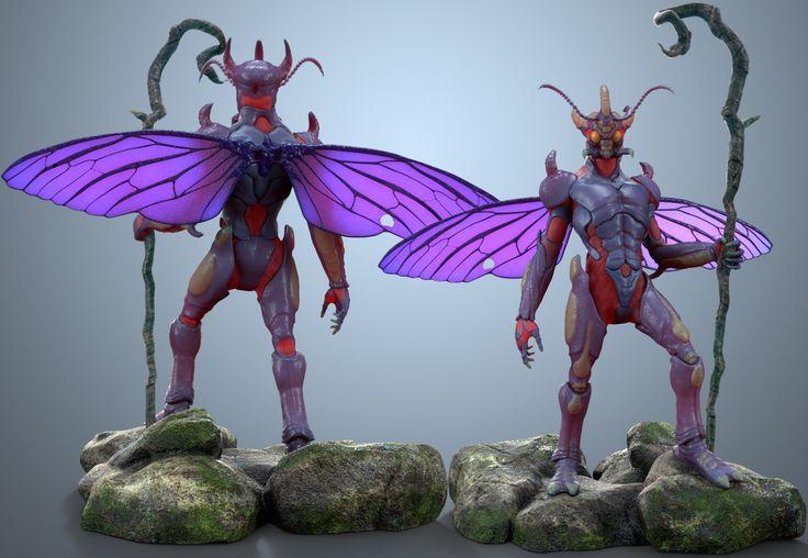 #digital 3d #creatures #nature #insect #fantasy #zbrush #bugman #keyshot