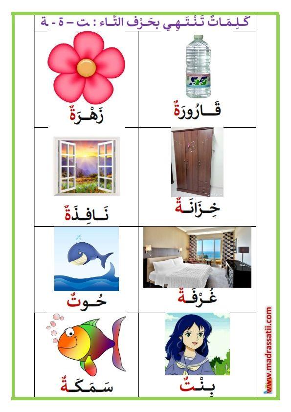 حرف التاء في آخر الكلمة كلمات تحتوي على حرف التاء موقع مدرستي Arabic Alphabet For Kids Arabic Kids Learning Arabic