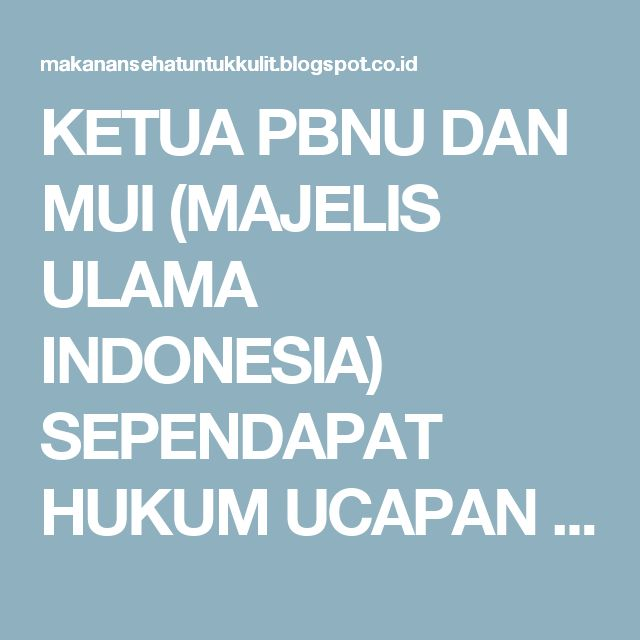 KETUA PBNU DAN MUI (MAJELIS ULAMA INDONESIA) SEPENDAPAT HUKUM UCAPAN SELAMAT NATAL BOLEH ~ makanan sehat