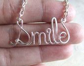 Smile Necklace Silver Word Necklace Personalized Name Necklace Wire Wrap Jewelry Gifts under 20