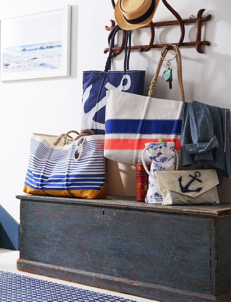 Recycled sailboat sails get made into Sea Bags Maine's signature styles, and we can't get enough of them!