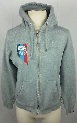 NIKE USA Olympics Track And Field Zip Hoodie Sweatshirt Jacket M Gray Womens