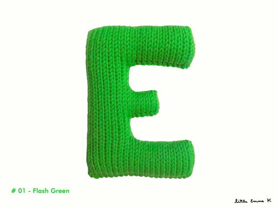 Alphabet Pillow Letter E Personalized soft Knitted by LittleEmmaK