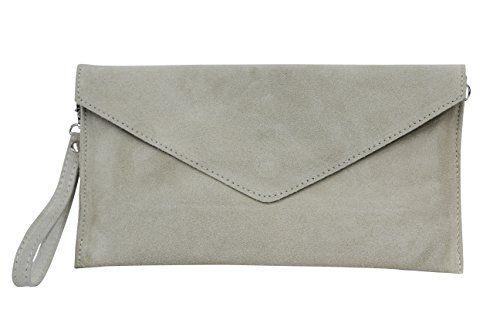 AMBRA-Moda-Damen-Wildleder-Envelope-Clutch-Abendtasche-Partytasche-Handschlaufe-Suede-Handgelenktasche-Schultertasche-Umhaengtasche-Unterarmtasche-Damentasche-Veloursleder-WL801
