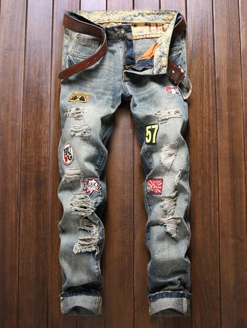 Cotton+Jeans Holes and Cat's Whisker Appliques Zipper Fly Denim Pants