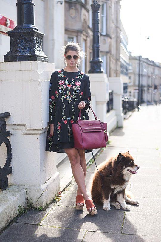 Zara embroidered floral black swing dress - Thankfifi Scottish fashion blog-2