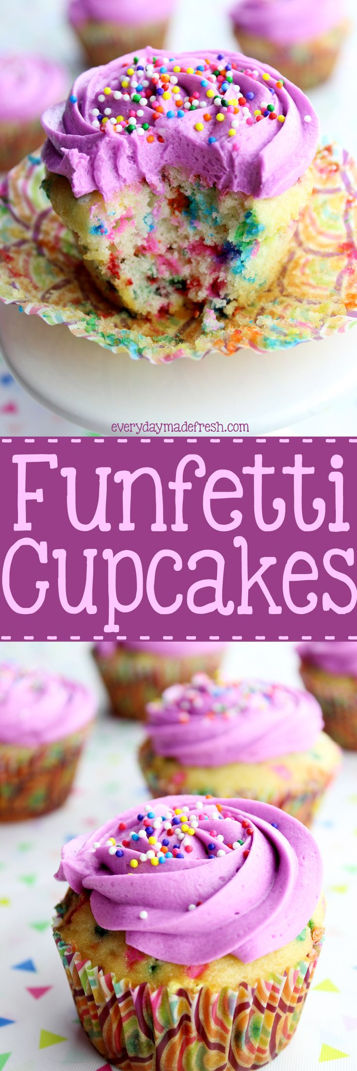 Sprinkles are all the rage, which means these Funfetti Cupcakes will be a hit at your next party! They are simple to make and the best part...they don't require a mixer! | EverydayMadeFresh.com http://www.everydaymadefresh.com/funfetti-cupcakes/