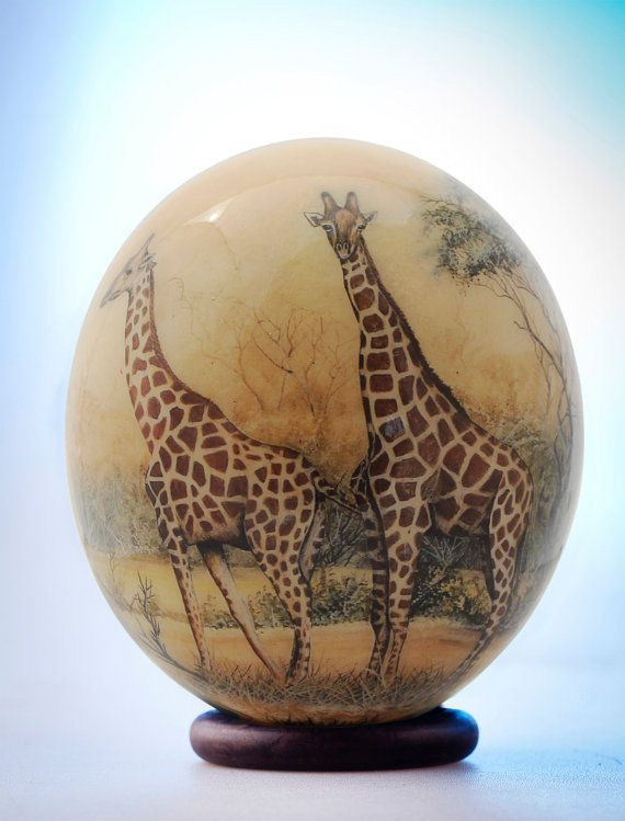 Decoupage Giraffe ostrich egg: Gangly giraffes appear in their natural bushland setting on the front of this exquisite African decor item