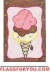 Triple Dip Ice Cream Applique Garden Flag