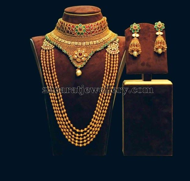 Jewellery Designs: Gold Beads Haram Choker Earrings