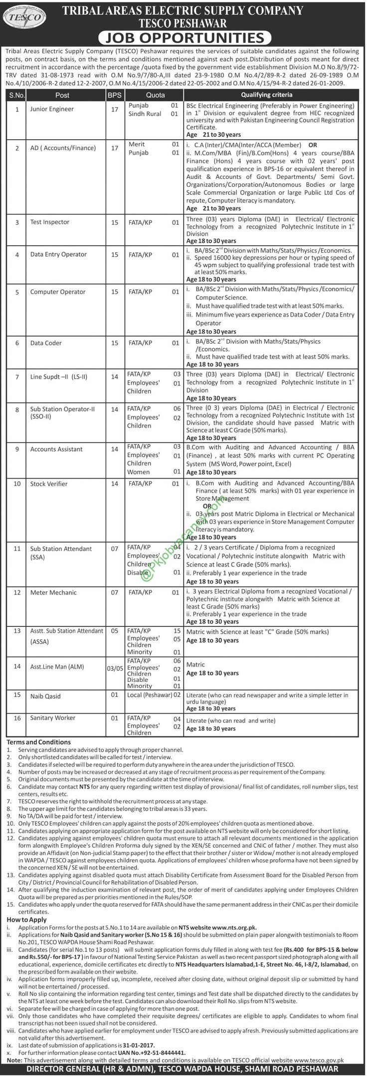 Tribal Areas Electric Supply Company Jobs Application Form Download TESCO Peshawar 2017