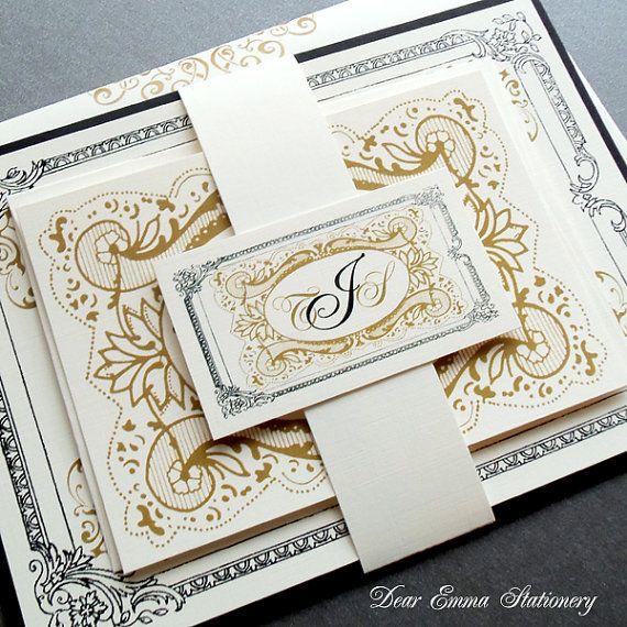 Victorian Elegance Wedding Invitations Clic Black And Gold Royal Filigree Work Sample