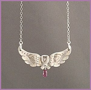 """'I know an ANGEL' pendant - Perfect for the person who has received tons of caring love from someone, or who wishes to acknowledge the memory of a special person.   A lovely and lively sterling silver angel wings ribbon pendant, with a pink teardrop tourmaline suspended from the bottom, comes on an 18"""" s-silver chain. SPECIAL MOTHER'S DAY OFFER: $80 with free shipping to Canadian buyers. See: http://mosadijewelry.com/collections/mosadi-jewelry-pendants/products/i-know-an-angel"""