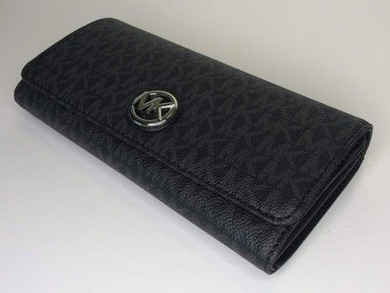 41453ae7aa037b Michael Kors Signature Mk Black Fulton Flap Continental Clutch Wallet. Free  shipping and guaranteed authenticity