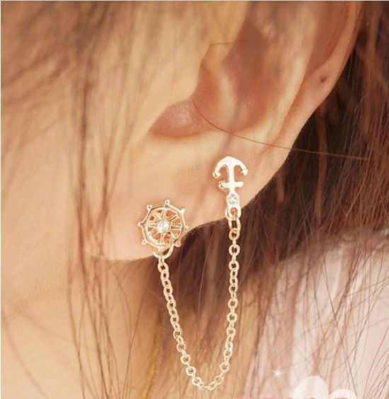 set auger anchor rudder earrings,double ear pierced stud
