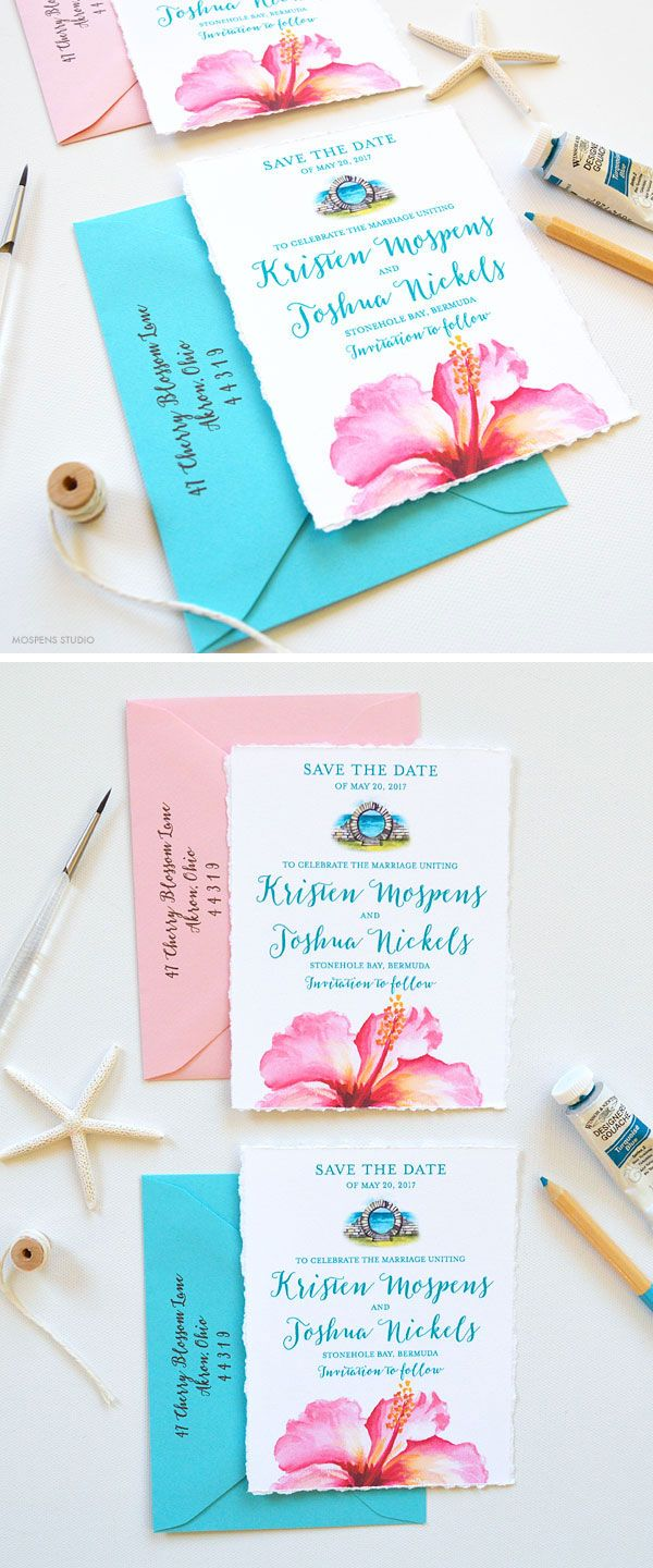Oh so tropical! The Bermuda save the date design features hand-torn deckled edges, Bermuda moongate watercolor art, tropical pink hibiscus flower and beautiful turquoise blue text. Now available! - www.mospensstudio.com
