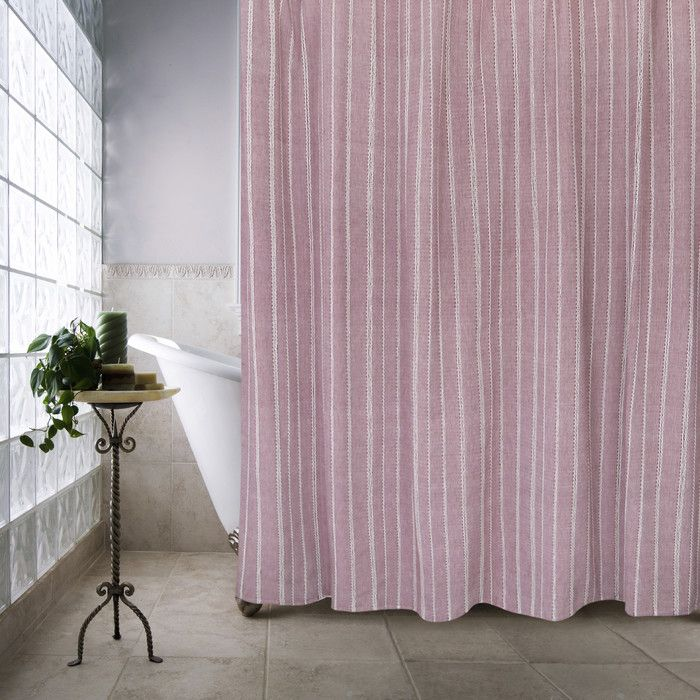 Farmhouse Cotton Eyelet Chain Shower Curtain at Wayfair with shower curtain rings.