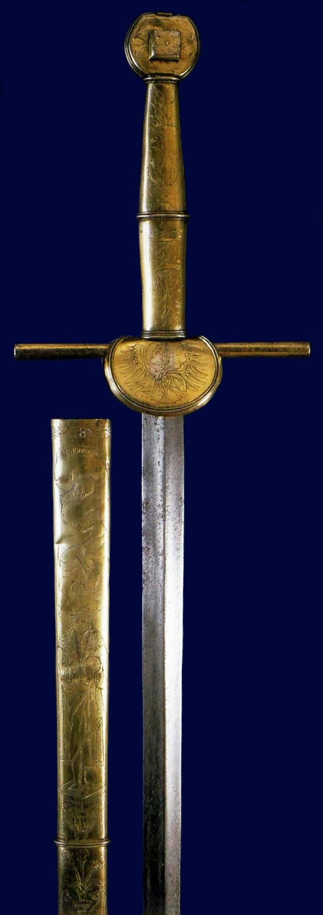 Koncerz sword of Sigismund the Old decorated with etched Renaissance ornament by Anonymous from Kraków, ca. 1520, Zamek Królewski na Wawelu, originally used as the sword of justice, later used in the ennoblement of knights