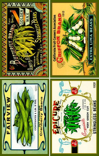 Olde America Antiques   Quilt Blocks   National Parks   Bozeman Montana : Vegetables - Beans Can Label Set 1